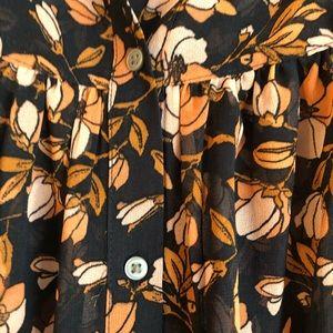 LOFT Orange/cream/black blouse